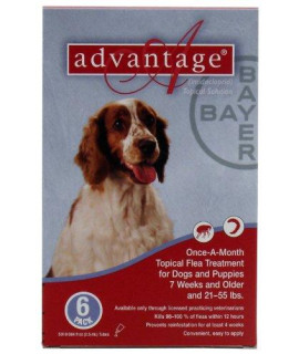 Bayer topical Flea Treatment for Dogs 21-55 lbs (6 Applications)