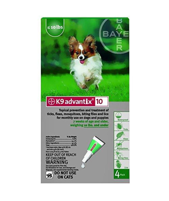 K9 Advantix Flea Control for Dogs up to 10 Pounds (4 Applications)