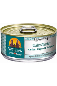 Weruva Classic Dog Food, Funky Chunky Chicken Soup With Chicken Breast & Pumpkin In Gravy, 5.5Oz Can (Pack Of 24)