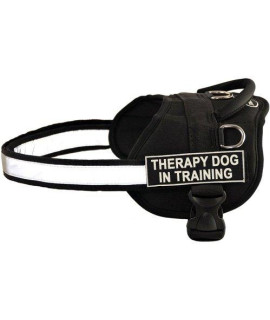 DT Works Harness, Therapy Dog In Training, Black/White, Small - Fits Girth Size: 25-Inch to 34-Inch