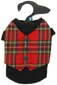 East Side Collection Holiday Tartan Pet Vest, XX-Small, 8-Inch, Red