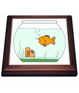 "3dRose trv_43834_1 Gold Fish In Bowl Trivet with Ceramic Tile, 8"" x 8"", Brown"