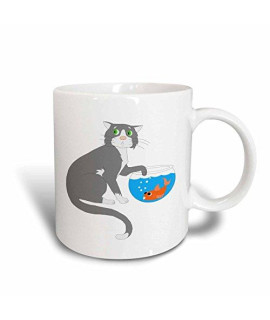 3dRose 3dRose Adorable Cat With Paw In Fish Bowl - Ceramic Mug, 11-ounce (mug_44788_1), , White