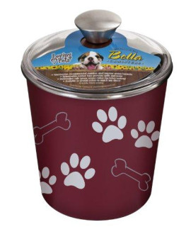 Loving Pets Bella Dog Bowl Canister/Treat Container, Merlot