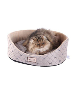 Armarkat Cat Bed, Pale Silver and Beige