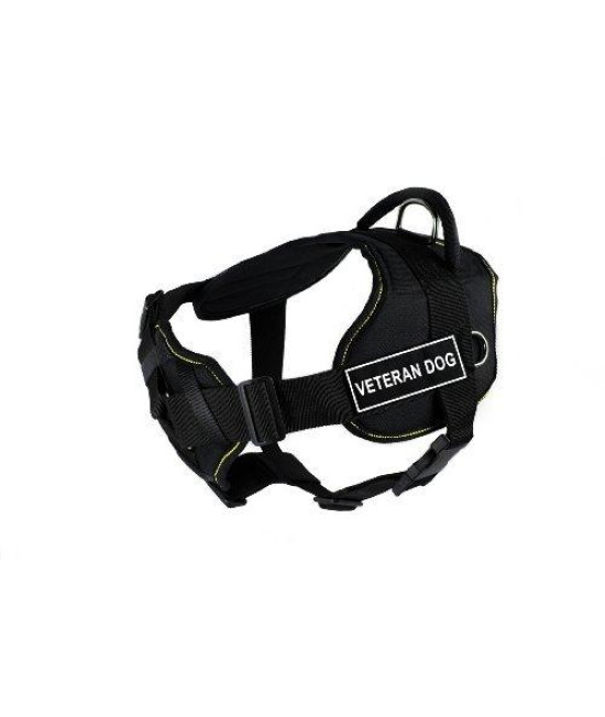Dean & Tyler Fun Works Veteran Dog Harness with Padded Chest Piece, Medium, Fits Girth Size: 28-Inch to 34-Inch, Black with Yellow Trim
