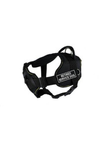 Dean & Tyler Fun Works Retired Service Dog Harness with Padded Chest Piece, Large, Fits Girth Size: 32-Inch to 42-Inch, Black with Yellow Trim