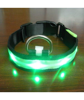 Eliteshine Fashionable LED Light Safety Adjustable Nylon Dog Collar and Leash (Green, S, M, L, XL)