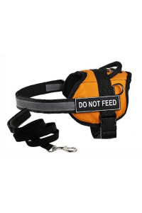 "Dean & Tylers DT Works Orange ""DO NOT FEED"" Harness with , XX-Small, and Black 6 ft Padded Puppy Leash."