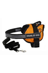"Dean & Tylers DT Works Orange ""DISABLED DOG"" Harness with , Large, and Black 6 ft Padded Puppy Leash."