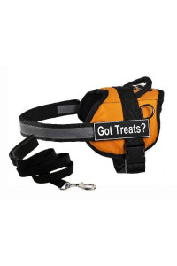 "Dean & Tylers DT Works Orange ""GOT TREATS?"" Harness with , XX-Small, and Black 6 ft Padded Puppy Leash."