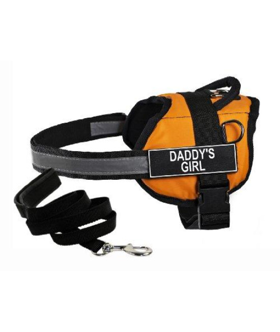 "Dean & Tylers DT Works Orange ""DADDYS GIRL"" Harness with , X-Small, and Black 6 ft Padded Puppy Leash."