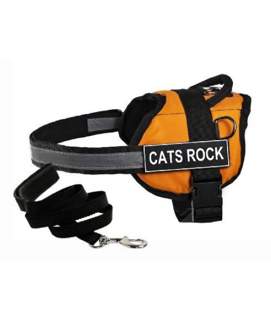 "Dean & Tylers DT Works Orange ""CATS ROCK"" Harness with , Small, and Black 6 ft Padded Puppy Leash."