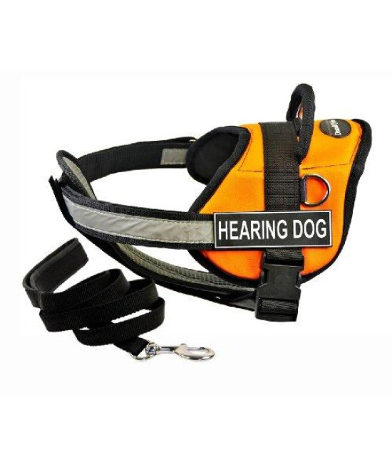 "Dean & Tylers DT Works Orange ""HEARING DOG"" Harness with Chest Padding, X-Small, and Black 6 ft Padded Puppy Leash."