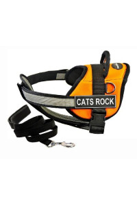 "Dean & Tylers DT Works Orange ""CATS ROCK"" Harness with Chest Padding, Large, and Black 6 ft Padded Puppy Leash."