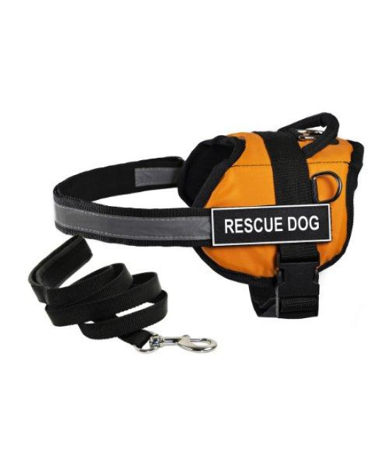 "Dean & Tylers DT Works Orange ""RESCUE DOG"" Harness, X-Small, with 6 ft Padded Puppy Leash."