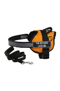 "Dean & Tylers DT Works Orange ""THE BITCHES LOVE ME"" Harness, Small, with 6 ft Padded Puppy Leash."