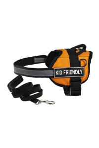 "Dean & Tylers DT Works Orange ""KID FRIENDLY"" Harness, Medium, with 6 ft Padded Puppy Leash."