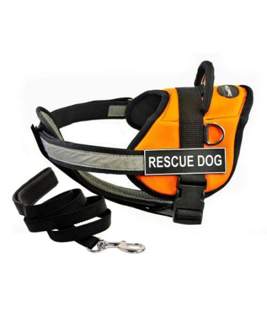 "Dean & Tylers DT Works Orange ""RESCUE DOG"" Harness with Chest Padding, Small, and Black 6 ft Padded Puppy Leash."