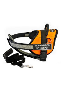 "Dean & Tylers DT Works Orange ""WORKING DOG DO NOT PET"" Harness with Chest Padding, Small, and Black 6 ft Padded Puppy Leash."