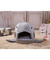 Patty both Shark Pet House with Removable Bed Cushion Mat for Dogs and Cats