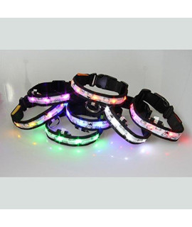7-piece ACEVER LED Dog Collar with Printed Bear Colorful Nylon LED Pet Collar (Size S)
