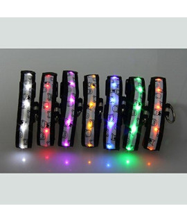 7-piece Pack Acever Adjustable Fashionable Flashing Nylon LED Light Pet Dog Safety Collar Multi-colors- Size L Large