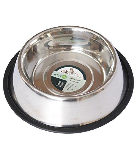 Iconic Pet 12-Cup Stainless Steel Non-Skid Pet Bowl for Dog or Cat, 96-Ounce