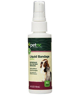 PetNC Natural Care Liquid Bandage Spray for All Pets, 4-Ounce