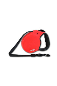 Doggo Everyday Retractable Dog Leash with Soft Grip Handle and 65 lb. Support, Red/Black, Small