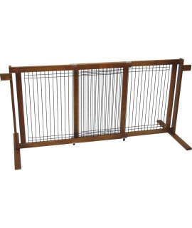 Crown Pet Freestanding Wood/Wire Pet Gate with Security Arms, Small Span