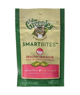 Greenies Feline Smartbites Skin  Fur Salmon 2.1Oz - Six (6) Packages