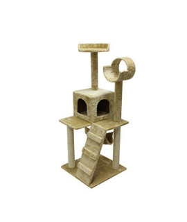 Aleko Mp-07Lb 47 Inch Height Cat Tree Condo Scratching Post Cat Furniture Pet House Cat Exercise Tree Light Beige Color