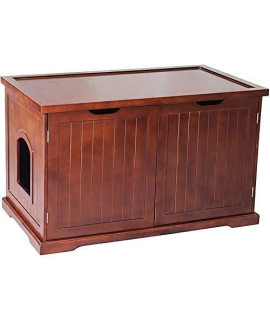 Merry Products Walnut Cat Hidden Litter Box Furniture Bench, Give Kitty A Private Toileting Area With This Hidden Litter Box Enclosure And Kitty Condo.