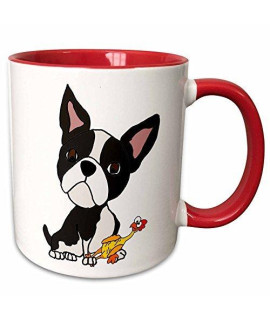 3Drose 260973_5 Funny Cute Boston Terrier Puppy Dog With Rubber Ceramic Mug, Red/White