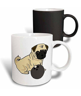 3Drose All Smiles Art Pets - Funny Cute Pug Puppy Dog Bowling Cartoon - 11Oz Magic Transforming Mug (Mug_270126_3)