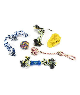 ALEKO PTRS7 Dog Rope Toy 7-Pack with Metal Whistle Chew Sturdy Durable Play Exercise Multiple Colors