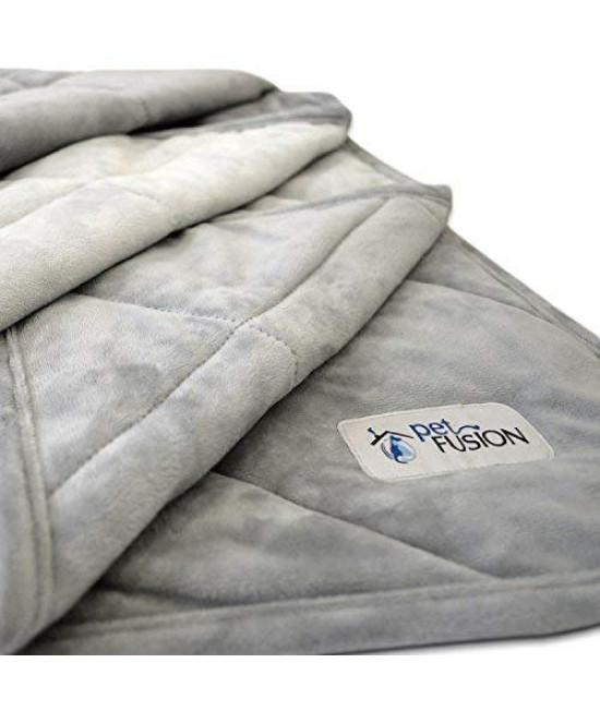"Petfusion Premium Plus Quilted X-Large Dog Blanket (58X48""). Light Inner Fill 70Gsm, Reversible Gray Micro Plush. [100% Soft Polyester]"