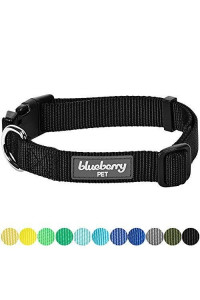 "Blueberry Pet 32 Colors Classic Dog Collar, Black, Large, Neck 18""-26"", Collars For Dogs"