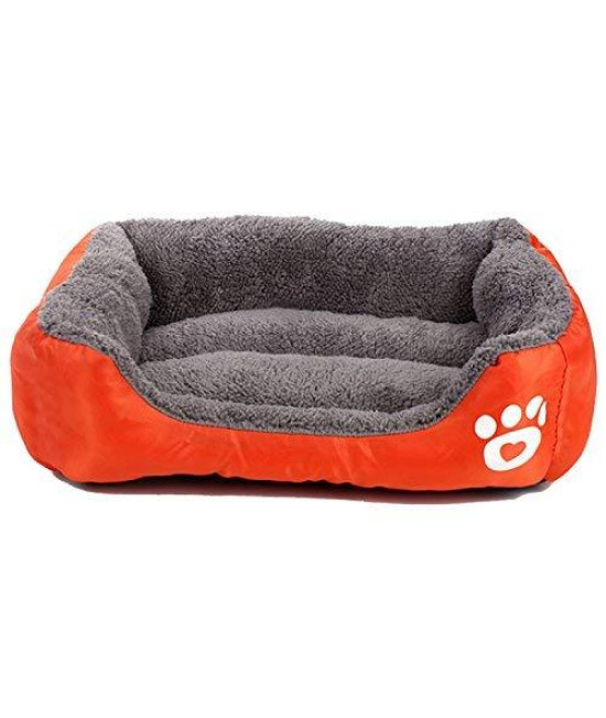 Pet Deluxe Pet Lounger Pet Bed Premium Bedding With Super Soft Padding And Anti-Skid Bottom For Dogs $ Cats [Lightweight, Self-Warming](S)-Orange