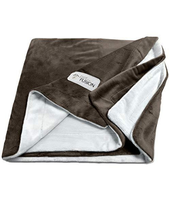Petfusion [New] Premium Pet Blanket. Reversible Gray Micro Plush. [100% Soft Polyester] (Large (53 X 41), Chocolate)