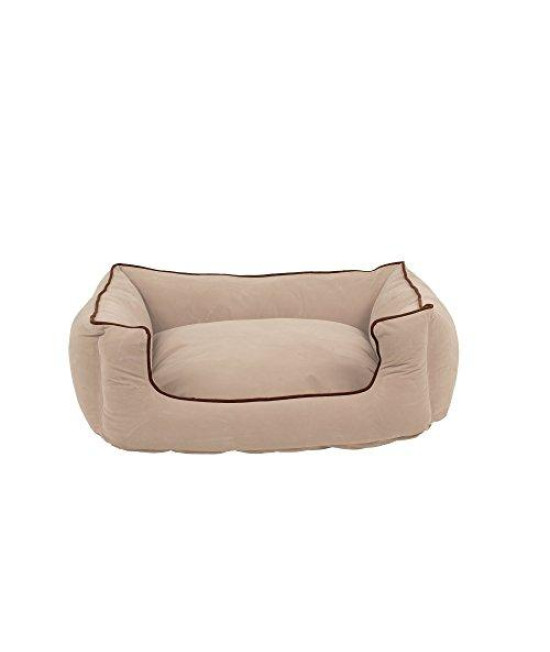 Carolina Pet Microfiber Kuddle Lounge Low Profile Bed For Pets, Medium, Khaki/Chocolate