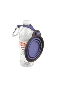 Dexas Popware For Pets Travel Cup/Bowl With Bottle Holder, Small, Purple