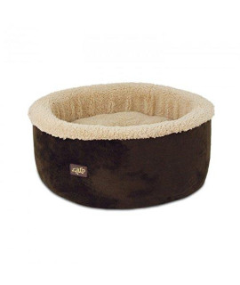 "ALL FOR PAWS Curl and Cuddle Cat Bed, 16"", Brown"