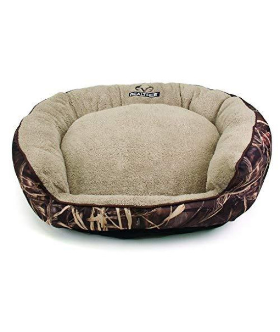 "Dallas Fov3630-160.3 Realtree Large Max5 Bolstered Pet Bed, Camo With Brown Piping, 36"" X 30"""
