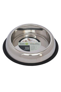 Iconic Pet 16 Oz / 2 Cup Heavy Weight Stainless Steel Elevated High Back Pet Food/Water Bowl With Removable Anti Skid Rubber Ring - Dog/Cat Feeding Bowl In Unique Design Is Dishwasher Safe