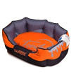 Touchdog 'Performance-Max' Sporty Comfort Cushioned Reflective Water-Resistant Fashion Pet Dog Bed Mat, Medium, Sunkist Orange, Black