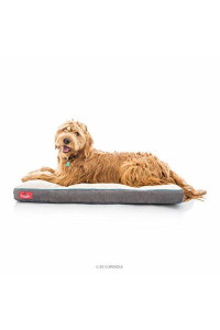 Brindle Soft Shredded Memory Foam Dog Bed With Removable Washable Cover - 40In X 26In - Khaki