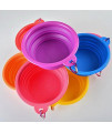 Dimart Expandable Collapsible Pet Dog Bowl Folding Puppy Food & Water Feeder With Climbing Button Carabiner For Outdoor Travel (Pink)