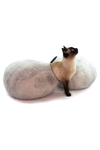 Cat Bed, House, Cave, Nap Cocoon, Igloo, 100% Handmade From Sheep Wool , Kivikis (Snow White)